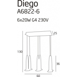 Diego 6 lampa wisząca