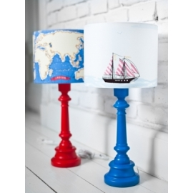 Lampa Okręt na Morzu z okrągłą niebieską nogą