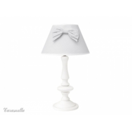 Lampka stojąca szara w groszki z kokardą