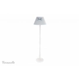 Lampa stojąca pokojowa szara w groszki z kokardą