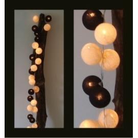 Cotton Ball Lights Black&Shell
