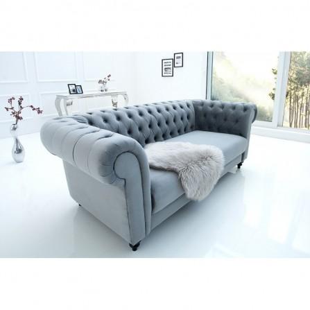 Sofa CHESTERFIELD szara 200 cm aksamit