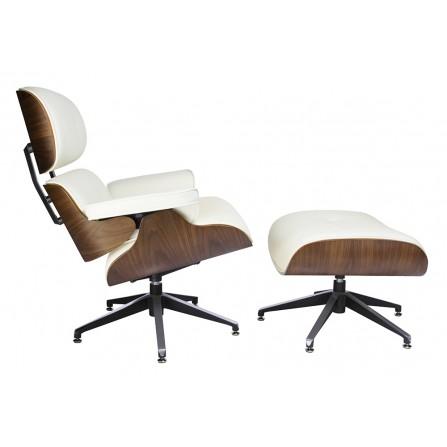 Fotel LOUNGE z podnóżkiem biały - skóra naturalna podstawa sklejka orzech