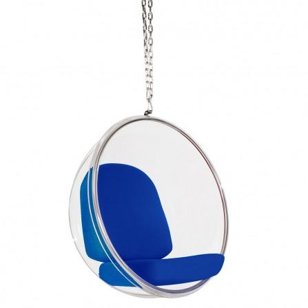 Fotel wiszący Bubble poduszka niebieska - korpus akryl, poduszka wełna