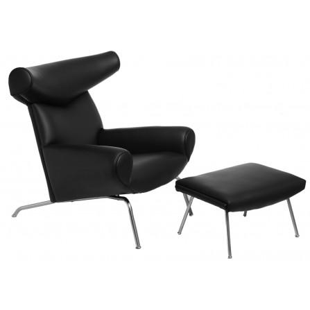 Fotel z podnóżkiem Wół ox chair czarna skóra
