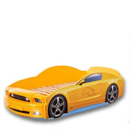 Łóżko dziecięce samochód MG Plus full mustang żółty