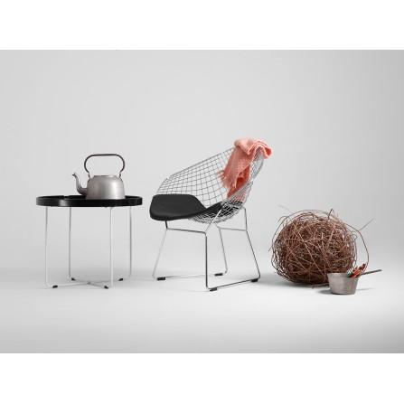 Krzesło DIAMENT - srebrny, czarna poducha