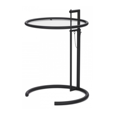 Stolik okrągły GREY czarny - metal, szkło