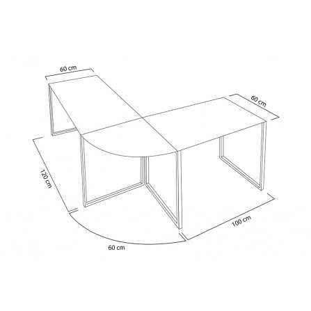 Biurko narożne BIG DEAL białe - szkło, metal