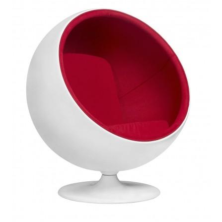 Fotel BALL czerwony - włókno szklane, wełna