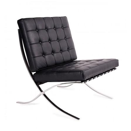 Fotel BARCELON PRESTIGE- 100% skóra włoska/chrom, czarny